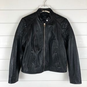 Lucky Brand NWT Real Leather Moto Jacket Black